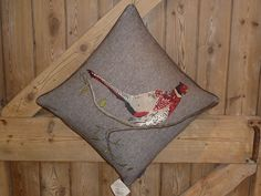 Embroidered Pheasant Cushion http://www.lesser-spotted.co.uk/embroidered-pheasant-cushion.html
