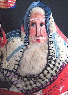 Santa OOAK Primitive Folk Art Santa AMERICAN FLAG by FolkArtWorks