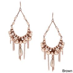 Featuring a classic chandelier shape embellished with colored faux pearl beads, these earrings are simply elegant. With short and long burnished chains that dangle like fringe at the bottom, these earrings add movement and modern style to your attire.