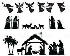 Nativity силуэт Сток Вектор Стоковая фотография