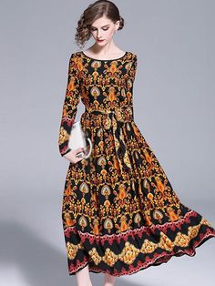 Vintage O-Neck Long Sleeve Print Maxi Dress – modewish Floral Maxi Dress, Maxi Dresses, Women's Fashion Dresses, Designer Dresses, Summer Outfits, Bodycon Dress, Long Sleeve, Sleeves, Neck Design