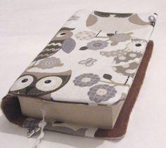 ♥Buchhülle Buchumschlag Eulen beige,weiss,schwarz m. Lesezeichen mit Schmuckeule ♥für dicke & dünne Bücher!       Für Taschenbücher dick und dünn!   D