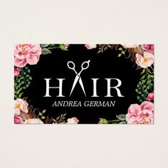 Floral Hair Stylist Logo Beauty Salon Appointment Business Card