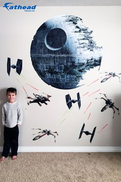 Fathead Customer Testimonial: The picture online does not do this Death Star Battle Fathead justice. It is even bigger than it appears in the picture. My son loves moving the different pieces around to make a new action sequence. SHOP removable vinyl wall decals  http://www.fathead.com/star-wars/star-wars-movies/death-star-battle-wall-decal/  | DIY Star Wars Bedroom Ideas for Boys + Kids | Home Decor | Teen | Man Cave | Baby + Toddler Room | Fathead Wall Decals | Star Wars Theme