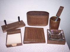 Vintage Mid-Century desk set Retro office ashtray address book letter opener. $35.00, via Etsy.