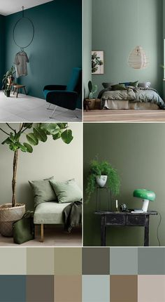 Living room green, Trending decor, Furniture trends, Home decor trends Home decor trends, House colors - Deco Color Trends 2018 2 Vert Vert Things meilleure couleur verte 2019 best Green - Blue And Green Living Room, Bedroom Green, Green Rooms, Bedroom Decor, Blue Green, Bedroom Modern, Trendy Bedroom, Cozy Bedroom, Modern Room