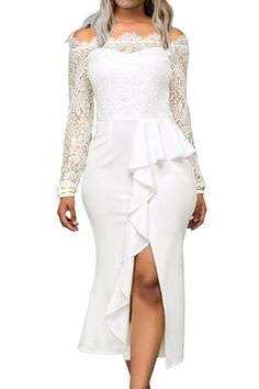 White Ruffle Accent Lace OTS Cocktail Dress