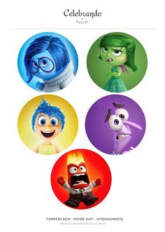 Toppers para cupcakes Intensamente - Inside Out