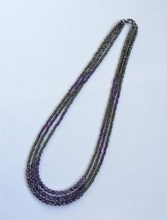 Amethyst Beaded Necklace  Multi-Strand Necklace  Purple and