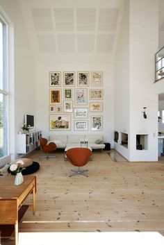 Danish home, gallery wall, chairs: Arne Jacobsen's The Swan