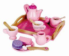 dřevěný kávový / čajový servis s podnosem