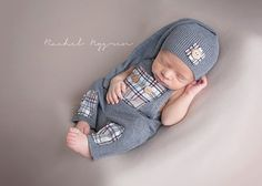 Newborn upcycled romper& top knot hat set  by JazzCraftBoutique