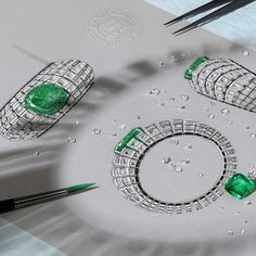 Sketch of the @cartier Clarté bracelet in white gold and set with a 66.09ct cushion-shaped Colombian #emerald, #rockcrystal, #onyx and #diamonds, from the #Cartier #Étourdissant collection of high #jewellery.
