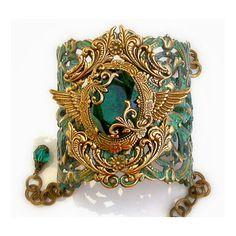 Patina Cuff Bracelet w Emerald Jewel and Swarovski Crystals -... by None, via Polyvore
