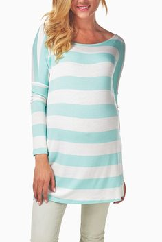 Mint-Green-White-Striped-Maternity-Top #maternity #fashion