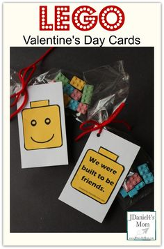 This year my son will be passing out these LEGO Valentine's Day cards to his friends. There is a copy of the LEGO Valentine's Day card to use. Lego Valentines, Valentines For Boys, Valentines Day Activities, Valentines Day Treats, Valentine Day Love, Valentine Day Crafts, Valentine Ideas, Holiday Activities, Printable Cards