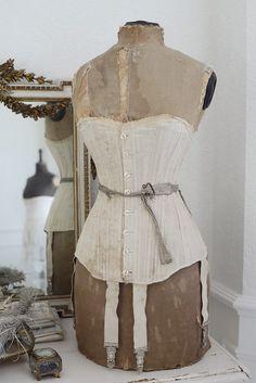 Antique mannequin, corset and triple coil bustle ca 1870