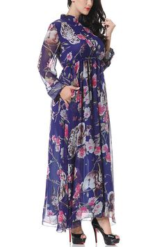 Plus Size Long Sleeves Floral Printing Maxi Dress with Stretch Waistband - US$41.95 -YOINS