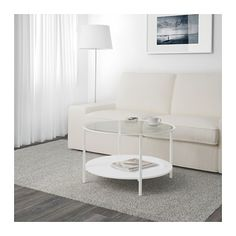 VITTSJÖ Coffee table - white/glass - IKEA