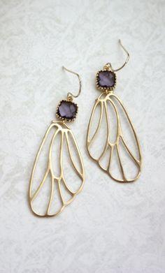 Gold Wings Earrings. Angel Filigree Wings