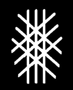 """SYMBOL OF WYRD-In nordic sorcery   the idea of Wyrd was related to the myth of the Three Norns. """"Wyrd can be translated as 'Coming Into Being'. Wyrd is imagined as a tapestry woven by the three Norns, called Urd, Verdandi and Skuld, representing an interconnected 'fabric' underlying all events that is manifest in every shape"""