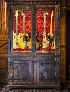 Guitar Display Cabinet - Joel Paul Design - This reclaimed Oak armoire displays the finest guitar collections while ensuring they are preserved and protected using a state of the art climate control system.