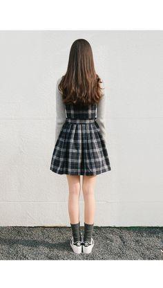 plaid suspender dress