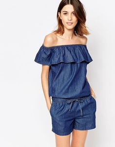 Image 1 of Vero Moda Frill Off Shoulder Chambray Playsuit