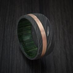 Damascus Steel Band with 14k Rose Gold and Jade Wood Sleeve Custom Made
