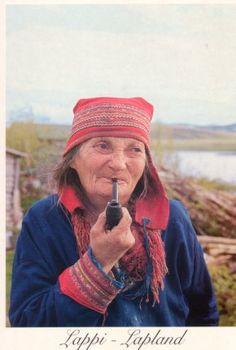 Lapland people | Sami woman smoking pipe by duffeli
