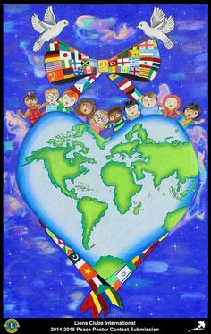 Lions Clubs International Peace Poster Competition submission from Rutland Lions Club in Massachusetts Lions Clubs International, International Day Of Peace, Peace And Harmony, Peace And Love, Art Drawings For Kids, Art For Kids, Peace Drawing, Peace Poster, Poster Competition