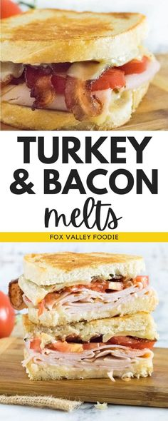 This turkey & bacon melt is similar to a grilled cheese sandwich, but with meat stacked in-between the slices of cheese! This turkey melt is buttered and toasted like every great grilled cheese but then it's painted with a bright and tangy red wine-infused mayonnaise which brings it to a whole new level! Hoagie Sandwiches, Healthy Sandwiches, Sandwiches For Lunch, Turkey Sandwiches, Delicious Sandwiches, Delicious Dinner Recipes, Lunch Recipes, Yummy Recipes, Turkey Melt