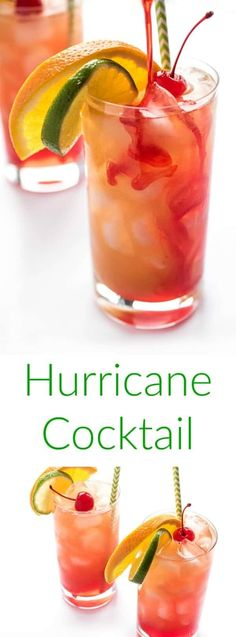 This hurricane cocktail is a fruity rum punch made famous in New Orleans. The ultimate crowd-pleasing cocktail recipe! Drinks With Rum, Fruity Mixed Drinks, Fruity Alcohol Drinks, Liquor Drinks, Easy Fruity Cocktails, Drinks Alcohol Recipes, Summer Rum Drinks, Non Alcoholic Drinks, Refreshing Drinks