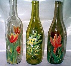 hand painted wine glasses ideas | Bottle Designs are Tulips, Simple Flower Bouquet, & Iris
