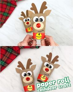 Toilet Paper Roll Reindeer Craft - Searching for the cutest cardboard tube craft for Christmas? This toilet paper roll reindeer craft - Christmas Crafts For Kids To Make, Easy Halloween Crafts, Xmas Crafts, Kids Christmas, Christmas Toilet Paper, Christmas Activities, Christmas Decorations Diy For Kids, Halloween Projects, Christmas Printables