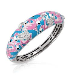 Flamingo Collection; Turquoise and Pink Bangle Bracelet; Hand-painted turquoise and pink Italian enamels with white stones set into rhodium-plated, nickel allergy-free, 925 sterling silver.