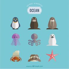 Art - Animal Doodles, Illustrations, Clip Art, Vectors, Embroidery, Cross Stitch, Tattoos, Animaux marins fixés Vecteur gratuit