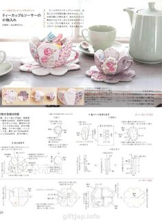 Japanese book and handicrafts - Cotton Time 2015 Sewing Kit, Free Sewing, Japanese Books, Deco, Pin Cushions, Quilting Projects, Handicraft, Tea Cups, Sewing Patterns