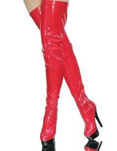 4 1 / 2''High Heel Red Patent Platform Thigh High Boots Sexy