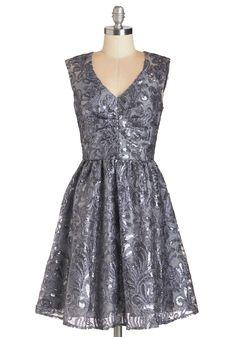 Twinkling at Twilight Dress in Grey