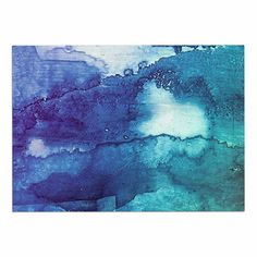 KESS InHouse Malia Shields 'Blues Abstract Series 1' Green Teal Dog Place Mat, 13' x 18' ** Quickly view this special dog product, click the image : Dog food container