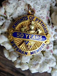 10k Gold Fill Knights of Pythias Enamel Fob, Charm or Medallion, 50 Year Veteran Member, 1/10 10k Gold Filled, Signed 'Supreme Lodge', Nice by postGingerbread on Etsy