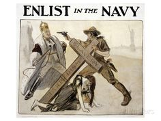 uncle sam navy recruiting poster | World War I American Recruitment Poster For Us Navy Shows Uncle Sam ...