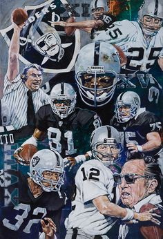 NFL Painting of the Oakland Raiders Silver, Black and Chrome Hall of Fame Athletes by Robert Hurst. Oakland Raiders Images, Oakland Raiders Football, Raiders Baby, Nfl Oakland Raiders, Football Art, Football Memes, Vintage Football, Okland Raiders, Pittsburgh Steelers