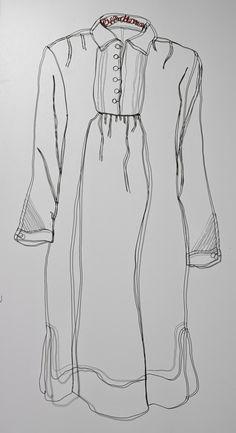 "Christina James Nielsen ~ ""Kejserens nye Klæder"" (2014) metal wire, free hanging sculptural drawing *The Emperor's new clothes*"