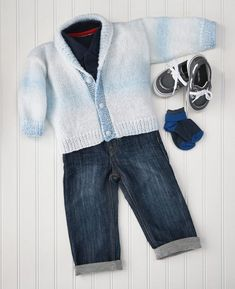 The perfect cardigan for any baby! Shown in Blueberry Ice or choose any Sugar Baby Stripes colour. Sugar Baby, Knit Or Crochet, Pattern Books, Baby Knitting, 18 Months, Ravelry, Stripes, Blazer, Sweaters