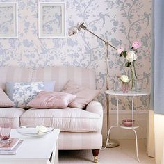 Pink and blue floral living room  Pastel shades work well in country-inspired schemes. Here blue floral wallpaper and a pink coloured sofa give the living room a soft, gentle feel.    Read more at http://www.housetohome.co.uk/room-idea/picture/pastel-colour-schemes-10-of-the-best/2#0JFby28RcClWgjti.99