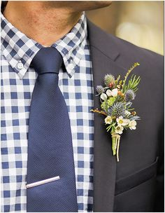 A gingham shirt and earthy boutonniere for the groom. Kate Whelan Events. Orange Turtle Photography.