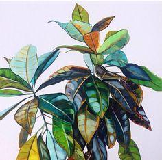 'Croton' original painting by Kate Jarman. Plant Painting, Painting & Drawing, Painting Inspiration, Art Inspo, Gravure, Botanical Art, Watercolor Art, Art Drawings, Cool Art