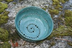 Stoneware Ceramic Berry Bowl Spiral Design Colander With Saucer. $40.00, via Etsy.